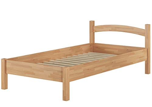 Erst-Holz® Massivholzbett Holzbett Buche Natur 100x200 Einzelbett Bettgestell mit Rollrost 60.73-10