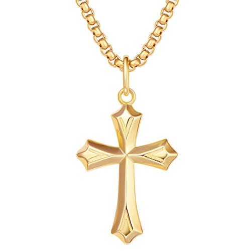 Collar con Colgante de Cruz para Hombre Niños de Plata de Ley 925 Chapada Oro Amarillo con Cadena de Acero Inoxidable - Longitud Cadena: 56 cm