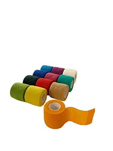 TB Bandage® Selbstklebender Verband für Hunde und Haustiere, Kohäsive und elastische Fixierbinde, 12, Haftbandage [12er Pack], Premium, Erste Hilfe Bandage für Verstauchungen und Prellungen