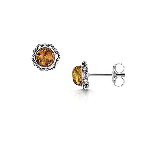 Amberta  -  925 Sterling-Silber  Sterling-Silber 925 Rundschliff   Orange-gelb Ambre
