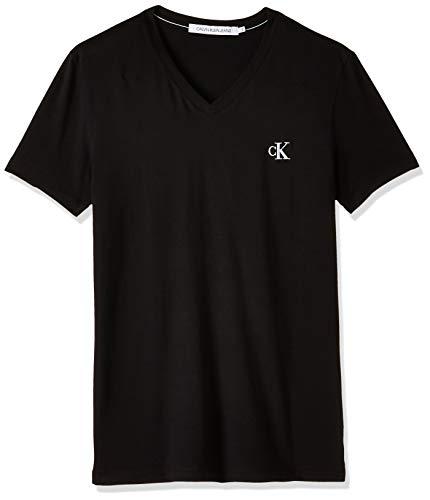Calvin Klein Jeans Herren Essential Slim V Neck Tee T shirt, Schwarz (Ck Black Bae), Medium
