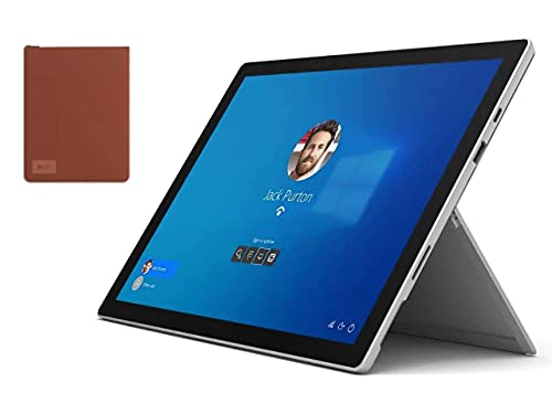 Newest Microsoft Surface Pro 7 12.3 Inch Touchscreen Tablet PC   Intel 10th Gen Core i3   4GB RAM   128GB SSD   Windows 10   Platinum (Latest Model)   with Woov Surface Pro Sleeve Poppy Red Bundle