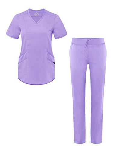 Adar Pro Core Classic Scrub Set for Women - Tailored V-Neck Scrub Top & Tailored Yoga Scrub Pants - P9100 - Lavender - S