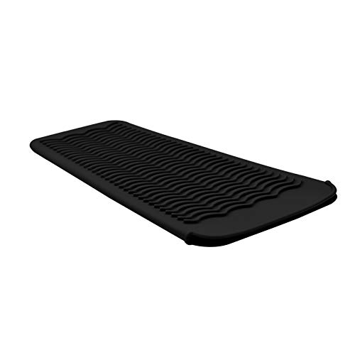 EIOKIT Silicone Heat Resistant Travel Mat Pouch for Hair Straightener,Crimping Iron,Hair Curling Iron,Hair Curling Wand,Flat Iron,Hair Waving Iron and Hot Hair Styling Tools (Black)