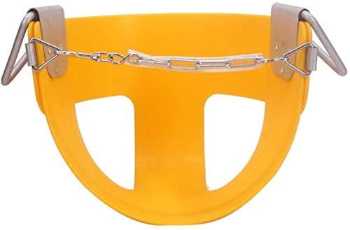 Oscilación de los niños de destino de alto de mitad trasera del cubo del niño con las cadenas del columpio revestido y correa de seguridad Gimnasio Sistemas y Oscilaciones (color: amarillo, Tamaño: 32