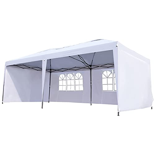 Outsunny 10' x 20' Heavy Duty Pop Up Canopy Party Tent with 4 Removable Sidewalls, Outdoor Cabana Gazebo with Carry Bag, Weather Protection, White