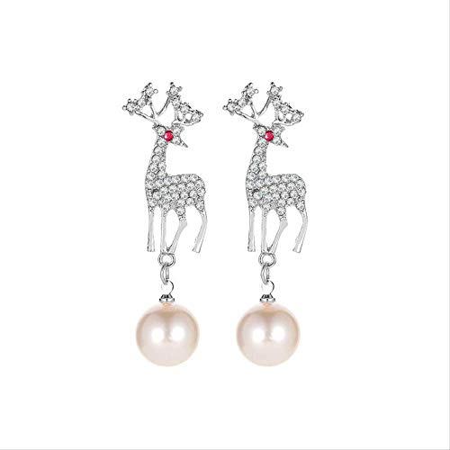 Navidad Eearrings para las mujeres cristal alce pendientes lindo animal falso perla ciervo pendientes fiesta de cóctel 5 cm