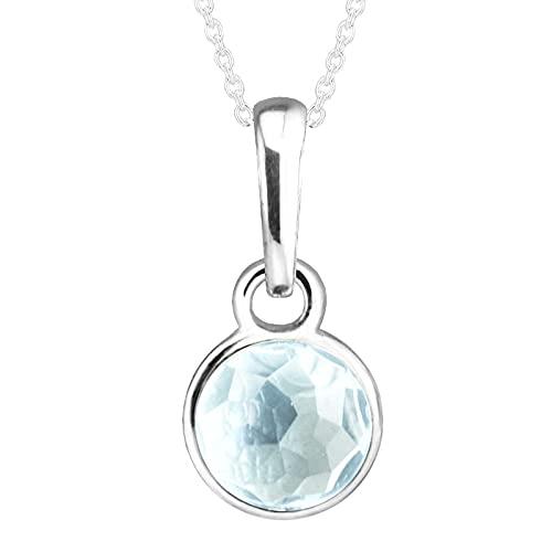 LILANG Pulsera de joyería Pandora 925, ajustes Naturales para Marzo, con Cuentas de Plata esterlina de Cristal Azul Aguamarina, dijes para Mujer, Regalos DIY