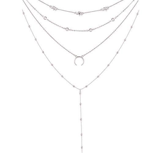 Fnito Collar Mujer Bohemia Collar Mujer Luna Boho Declaración Multicapa Collar Babero Collares y Colgantes Joyas Colar Collier