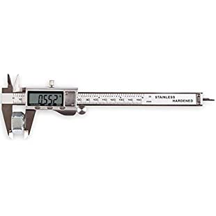 """Customer reviews LOUISWARE Electronic Digital Vernier Caliper, with Extra-Large LCD Screen and 150mm 0-6"""" Inch/Metric/Fraction Conversion, Stainless Steel, IP54 Water Resistant"""