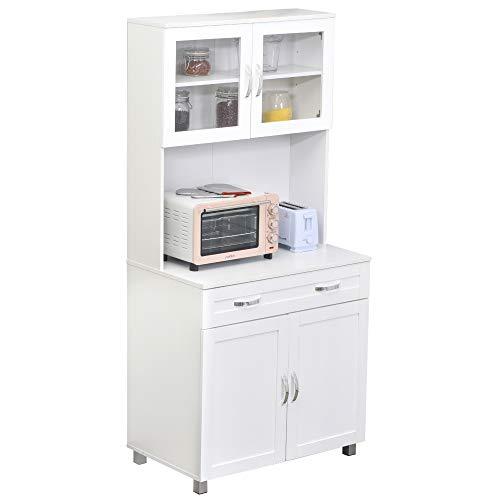 HOMCOM Mueble Aparador Auxiliar de Cocina Alacena Buffet Armario de Comedor con Estantes Interiores Ajustables y Cajón 80x48x170 cm Blanco