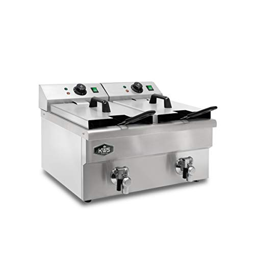 KWS DY-12 Commercial 3500W Electric Deep Fryer 11.4L Stainless Steel with Faucet Drain Valve System for Commercial Restaurant