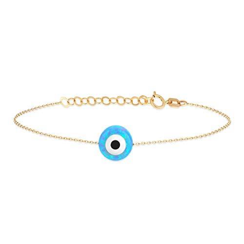 Gelin - Pulsera para mujer, diseño de ojo con amuleto contra el mal de ojo 14 K (585), oro amarillo auténtico, regalo para San Valentín, cumpleaños, Navidad