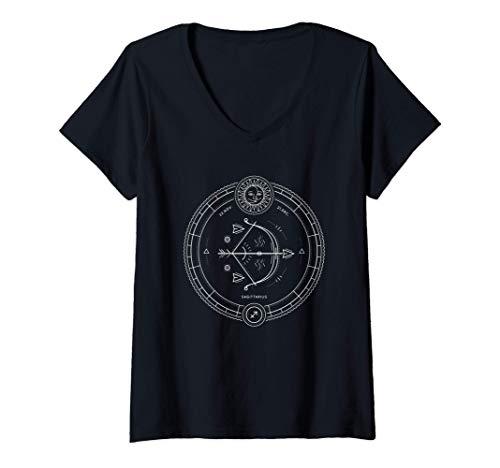 Mujer Sagitario Horóscopo Zodíaco Noviembre Diciembre Regalo Camiseta Cuello V