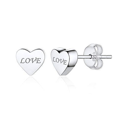 Corazón/Estrella/Luna Plata de Ley 925 Chapado en Platino/Oro/Oro Rosa Pendientes Clavos Hipoalérgicos para Mujeres Joyería Moderna Romántica Personalizable