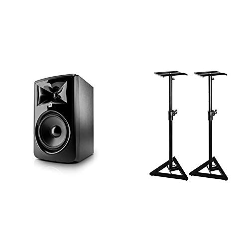 JBL Professional 308P MkII Next-Generation 8-Inch 2-Way Powered Studio Monitor & On-Stage SMS6000 Adjustable Studio Monitor Stand, Pair