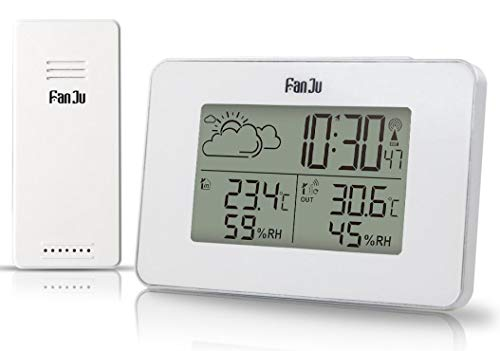 VORRINC Weerstation met buitensensor voor binnen en wekfunctie, temperatuur, barometer, wekker, vocht, maanfase, klok 17.5cm*13.5cm*8cm wit-3364