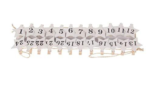 Decpero adventskalender slinger met ster houten wasknijpers 1-24 wit
