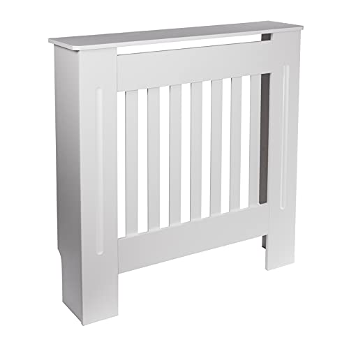 Wooden Radiator Cover (Small) | White Protective Cover for Home Heaters & Radiators | 78.5cm (W) x 81cm (H) | Wall-Mountable Bracket Included | M&W