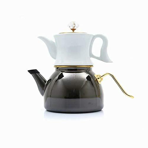 Dufy Sadem Vintage Türkische Teekannen Caydanlik Teebereiter Teekocher Emalie&Porzelan Antrasit&Weiß