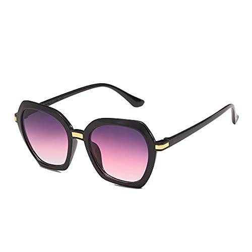Gafas De Sol Hombre Mujeres Ciclismo Gafas De Sol para Mujer Lentes De Gradiente con Clip De Moda Gafas De Sol De Montura Poligonal Unisex Gafas-Black_Purple_Gray