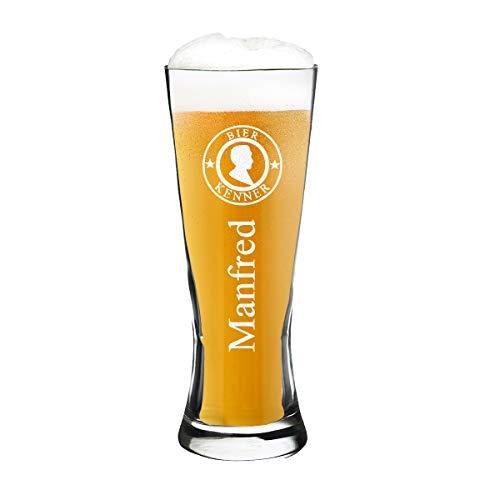 polar-effekt Modernes Weizenbierglas Personalisiert mit Gravur - Weizenglas - Geschenk-Idee zum Geburtstag - Motiv Bier Kenner 0,5l