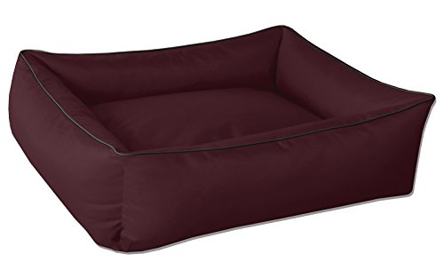 BedDog® hondenmand MAX, vierkant hondenkussen, grote hondenbed, hondensofa, hondenhuis, met afneembare hoez, wasbaar, XXXL, bordeaux