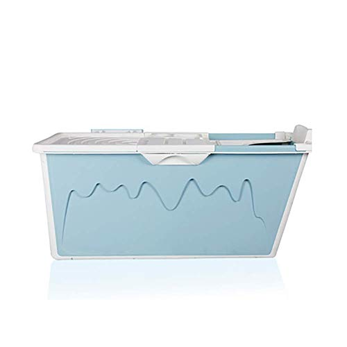 GXY Bañera Portátil para Adultos, Bañera Plegable Acolchada para Niños, con Cubierta de Aislamiento Multifunción Y Diseño de Orificios de Drenaje, Unisex,Azul