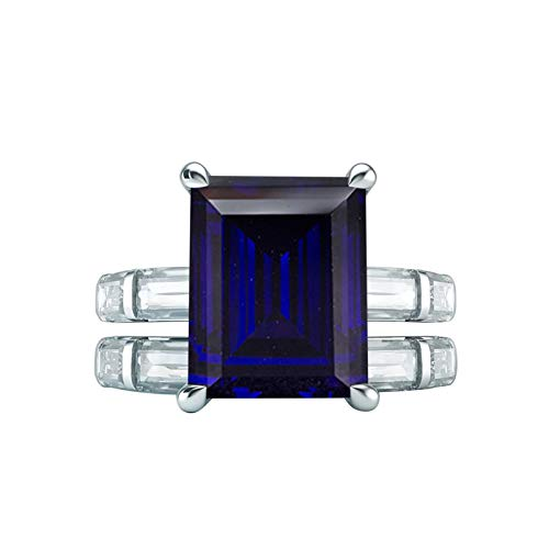 Gnzoe Women's S925 Silver Ring for Women Set Ring Rectangular Shape 4-Prong Blue Cubic Zirconia Wedding Ring Blue Size V 1/2