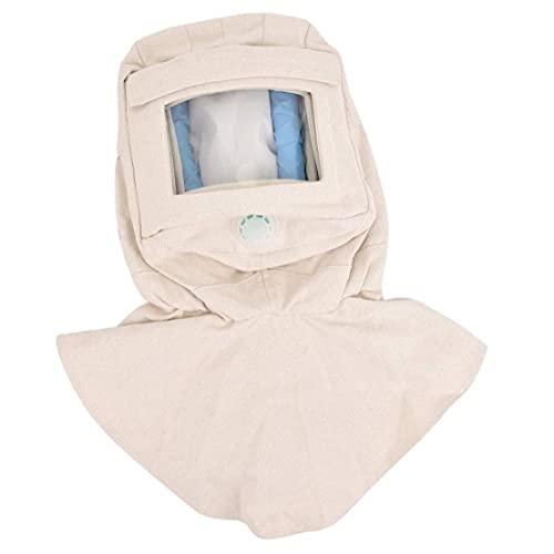 Runfon Arena voladura Capucha Tapa Chal Tapa Arena con máscara Anti eólico Cabra Polvo Protectora Cara mascarilla Blanco