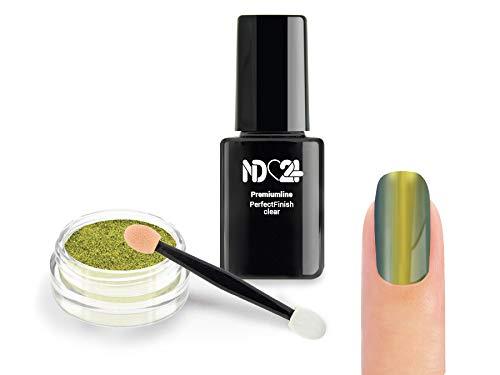 Nailart Starter Set - Mirror Chrome Flip Flop Pigment Puder - Sunlight + Zubehör - Spiegel Effekt Powder