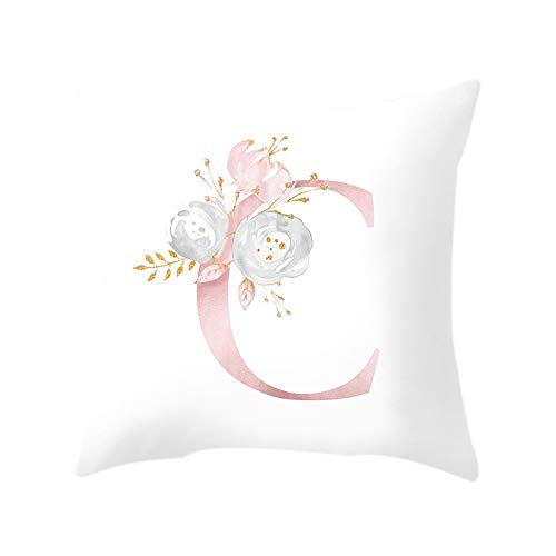 Katigan 18 Inch Letter Pink Floral Printing Pillow Case Throw Cushion Cover Pillow Cover Sofa Home Decor Letter C