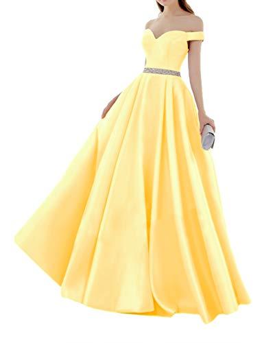 HUINI Elegant Abendkleider Satin Herzausschnitt Brautkleider Lang Ballkleider Schulterfrei Hochzeitskleider Quinceanera Kleider Gelb 50