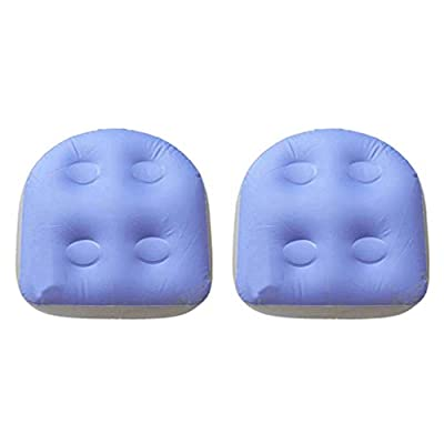 FLAMEER 2 Pieces Spa and Hot Tub Booster Seat Pad with Suction Cup Soft Inflatable Massage Cushion Suction Booster Seat Back Pad Purple