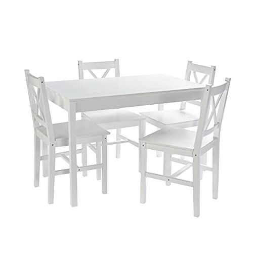 Home Treats White Dining Table and 4 Chairs Set | Dining Table Kitchen Set | Kitchen Table and Chairs Set 4 | White Table and Chairs Set 4 | Dining Table and Chairs Set 4 | Dining Room Sets