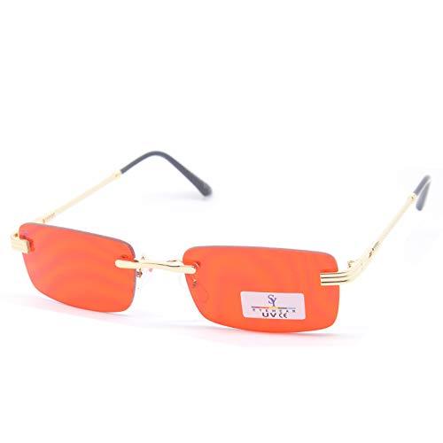 SEEYOU gafas de sol de cristal transparente rectangular multicolor, Rojo (rojo), M