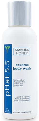 Face and Body Wash for Eczema - Body Soap and Acne Body Wash - Organic Formula with Manuka Honey, Coconut Oil & Aloe Vera - Best Atopic & Dyshidrotic Eczema Relief (4 oz)