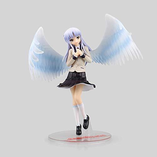 AUUUA Anime Statue 22cm Anime Engel schlägt Tenshi Tachibana Kanade White Angels Flügel Schuluniform PVC Actionfigur Sammlung Modell Spielzeug Anime Superhelden Statuen Geschenk