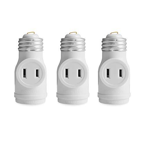 2 Outlet Light Socket to Plug Adapter, Electrical Screw in Light Bulb Socket Outlet Adapter, Lamp Holder, Dual Polarized E26 ETL, White (3PACK)