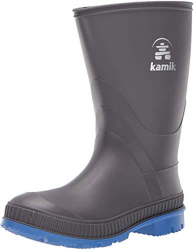 Kamik Unisex Stomp Rain Boot, Charcoal/Blue, 13 M US Little Kid