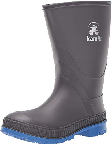 Kamik Baby Stomp Rain Boot, Charcoal/Blue, 8 M US Toddler