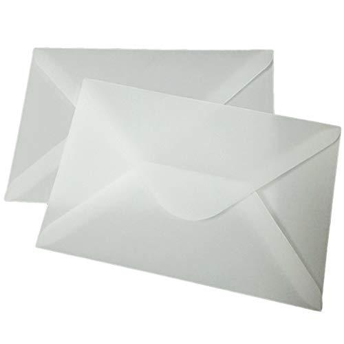 Sweet+ 封筒 トレーシングペーパー 洋型 洋2 半透明 おしゃれ 招待状 手紙 ハガキ 写真 100枚 (ダイヤモンド貼り)