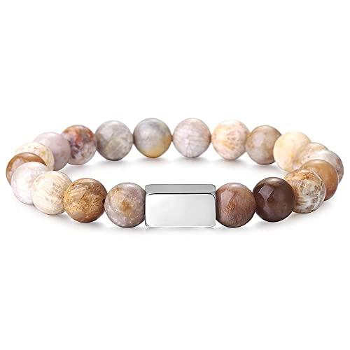 Pulsera elástica con cuentas de piedra natural de 10mm para hombres y mujeres, pulseras de hilo de grabado, joyería de meditación de Yoga, 20 cm