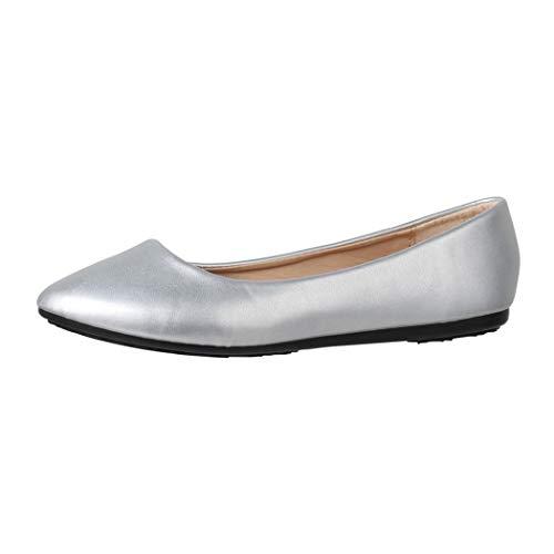 Elara Damen Ballerina Bequeme Slip Ons Flach Chunkyrayan DY 10A Silver 37