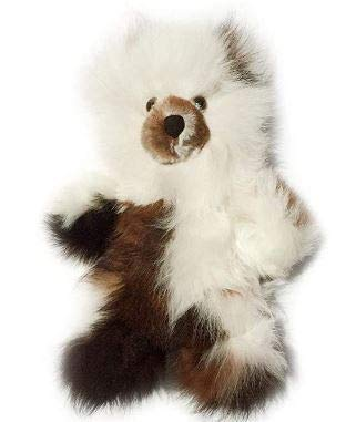 Inca Fashions - 100% Baby Alpaca Fur Teddy Bear - Hand Made - Dark Chocolate/White - Hypoallergenic & Pillow Soft (10 Inch)