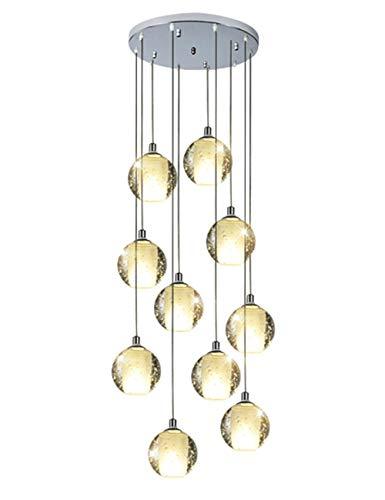 Mlshlf lamp 10 glazen bolletjes kroonluchter trap duplex gebouwd multi-lampen hanglamp Villa holle woonkamer loft roterende lange kroonluchter 45x150 cm