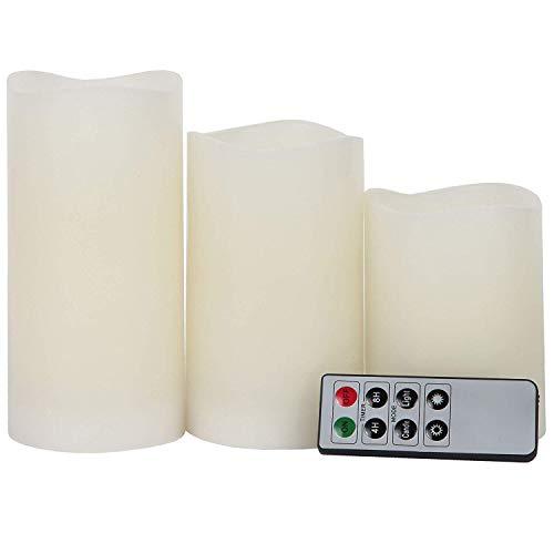 Lily\'s Home Everlasting Velas LED sin llama, con control remoto y temporizador, juego de 3 velas