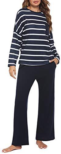 Meaneor Damen Schlafanzug Langarm Baumwolle Zweiteiliger Pyjama Winter Nachtwäsche...