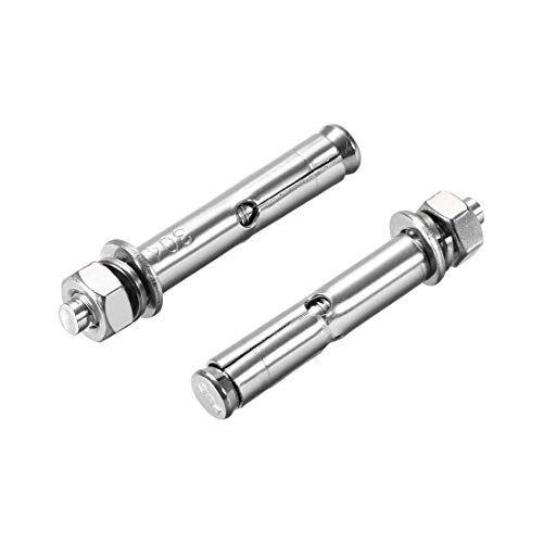 MroMax 1Pcs M12x80mm Eye Bolt 304 Stainless Steel Sleeve Anchor Concrete Expansion Convenient for Engineering Fixation Silver Tone