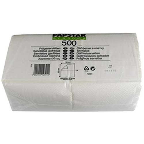 PAPSTAR 12391 Tissue Paper Color Blanco 500pieza(s) - Servilleta de Papel (Color Blanco, Tissue Paper, Monótono, 17 g/m², 330 mm, 33 cm)